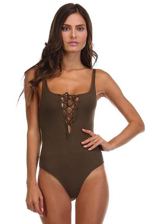Lace Me Up Bodysuit: Olive - Bella and Bloom Boutique