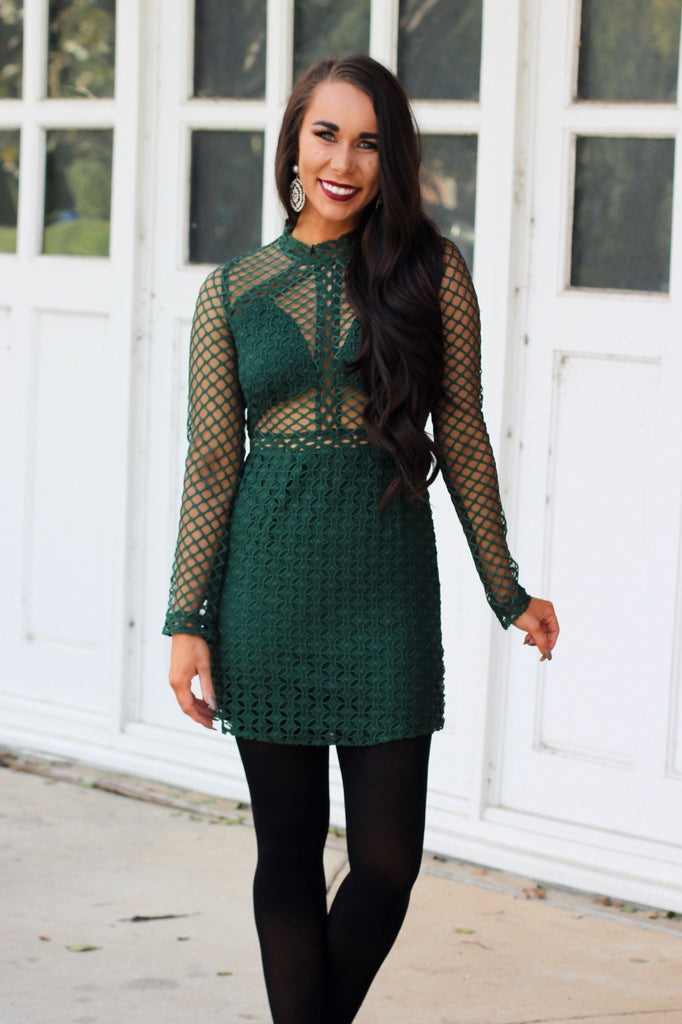 RESTOCK: Winter Green Dress: Hunter Green - Bella and Bloom Boutique