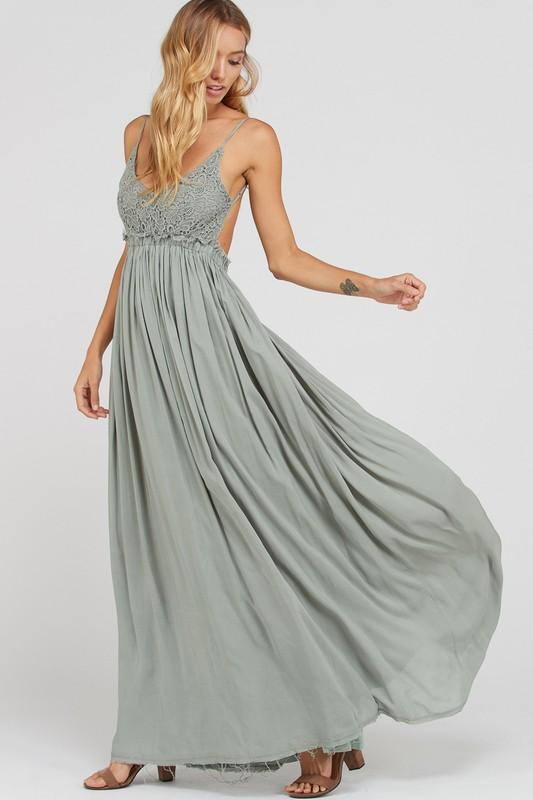 Love Me Tender Maxi Dress: Light Olive - Bella and Bloom Boutique