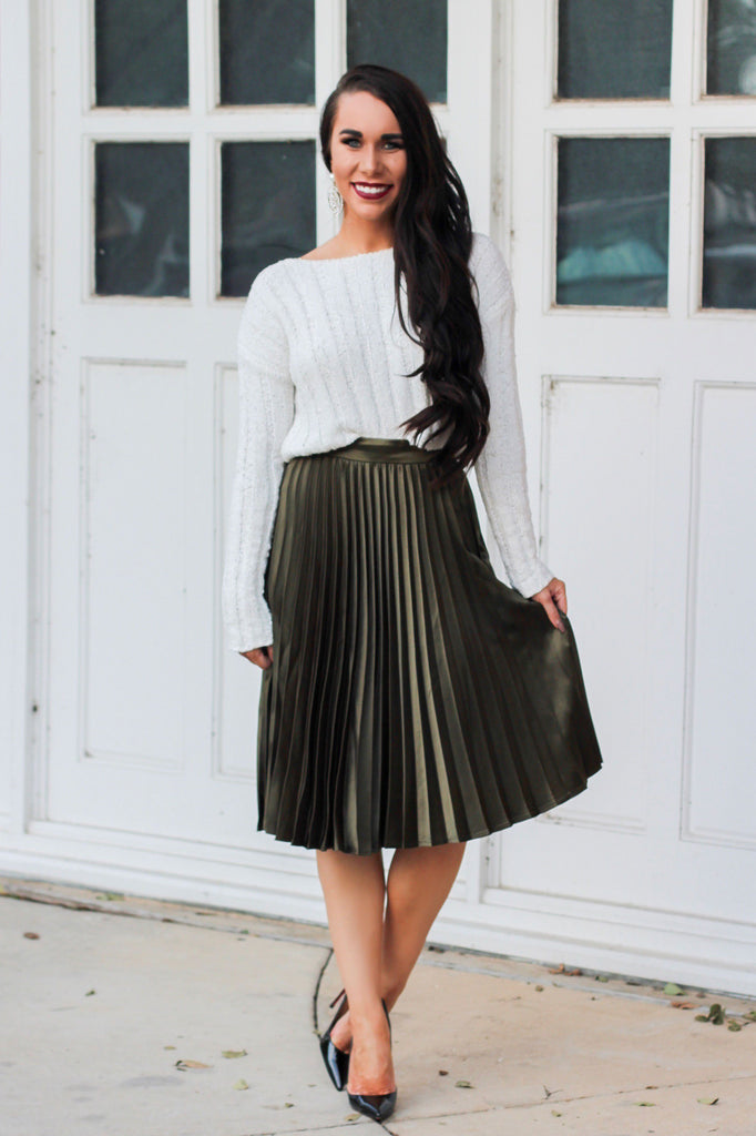 Set on You Skirt: Olive - Bella and Bloom Boutique
