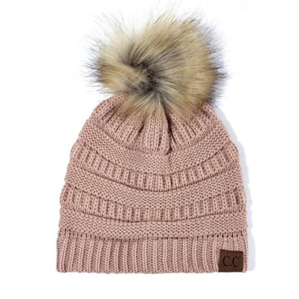 Cable Knit Beanie: Blush - Bella and Bloom Boutique