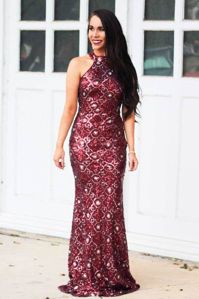 Christmas Crush Sequin Maxi Dress: Burgundy - Bella and Bloom Boutique