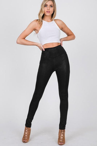 RESTOCK: Tayshia Faux Leather Leggings: Black - Bella and Bloom Boutique