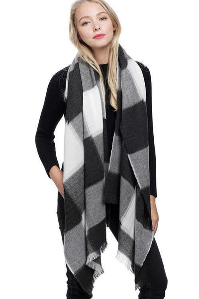 Oversized Checkered Scarf: Black/Ivory - Bella and Bloom Boutique