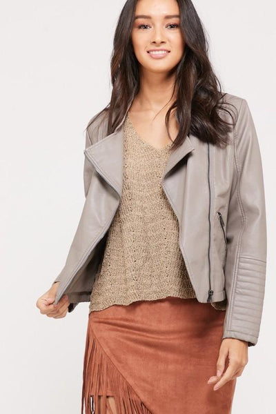 Wanna Be Yours Moto Jacket: Stone - Bella and Bloom Boutique