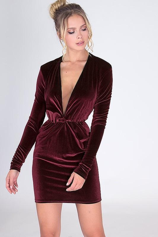 Bound to Be Chic Velvet Dress: Burgundy - Bella and Bloom Boutique