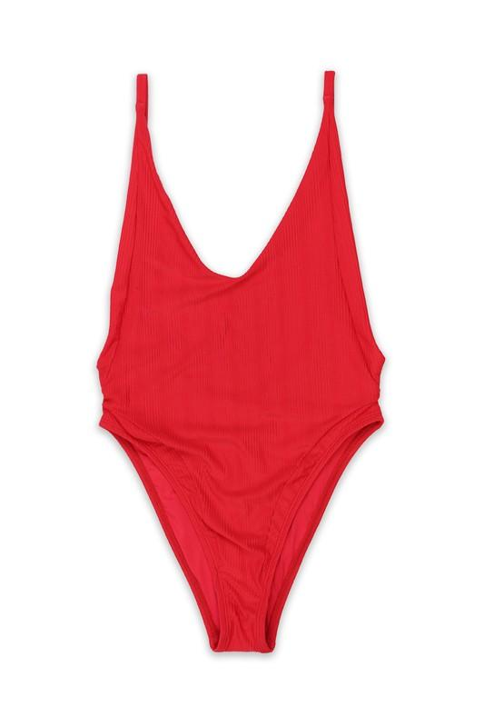 Ribbed Classic One Piece: Red - Bella and Bloom Boutique