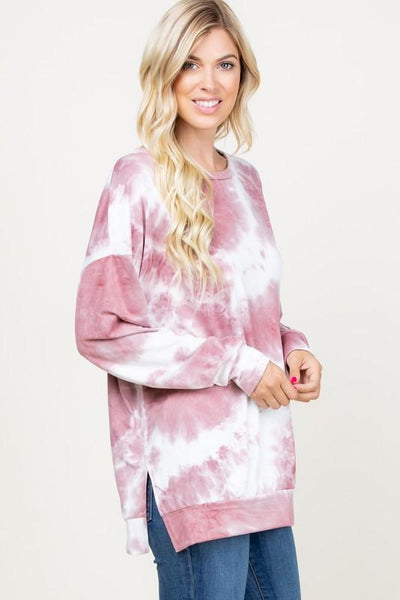 RESTOCK: Dream Girl Tie Dye Pullover: Mauve/White - Bella and Bloom Boutique