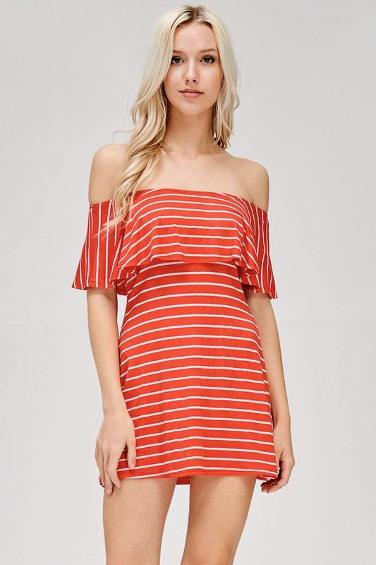 Summer Casual Dress: Tomato/White - Bella and Bloom Boutique