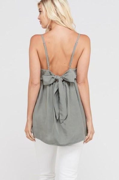 RESTOCK: Peak a Bow Cami: Sage - Bella and Bloom Boutique