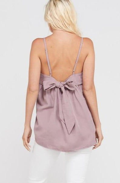 RESTOCK: Peak a Bow Cami: Mauve - Bella and Bloom Boutique