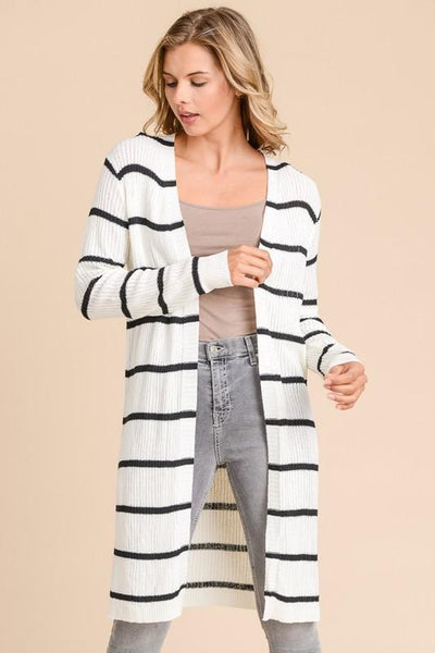 RESTOCK: Always Late Cardigan: White/Black - Bella and Bloom Boutique