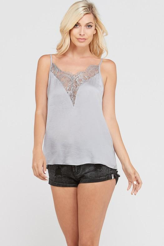 RESTOCK: Date Night Cami: Silver - Bella and Bloom Boutique
