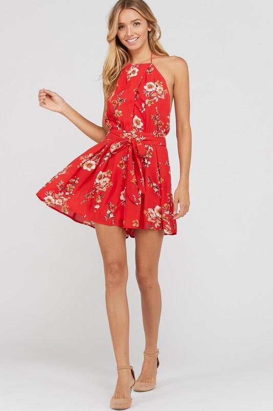 Brighter Than the Sun Romper: Red - Bella and Bloom Boutique
