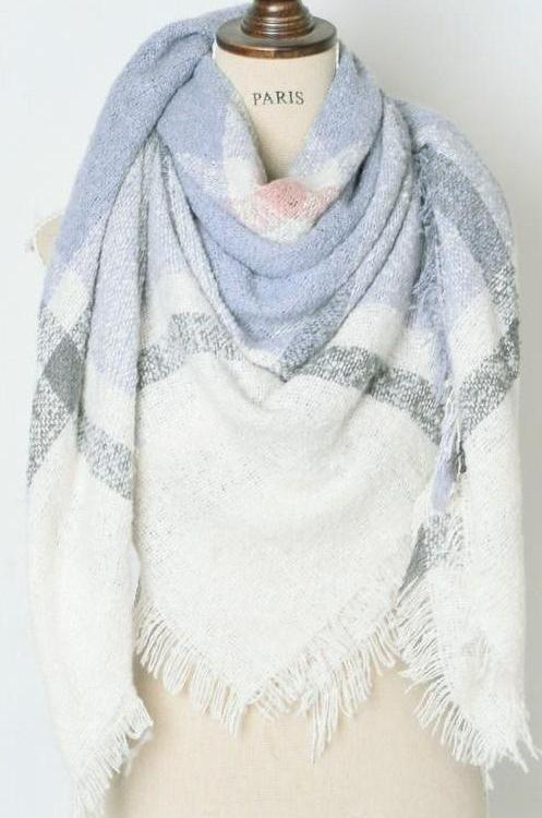 Blanket Scarf: Blue/Ivory - Bella and Bloom Boutique