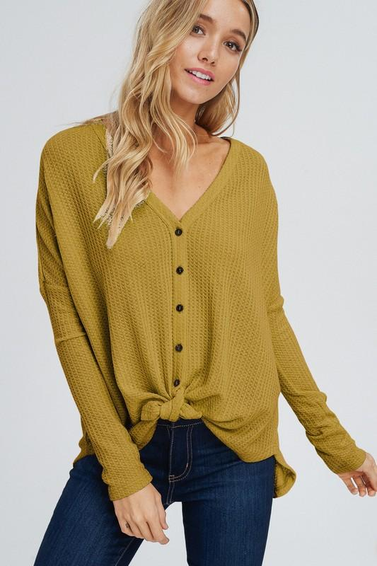 Autumn Love Thermal Top: Mustard - Bella and Bloom Boutique