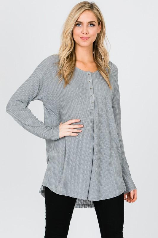 This Time Around Thermal Top: Heather Gray - Bella and Bloom Boutique
