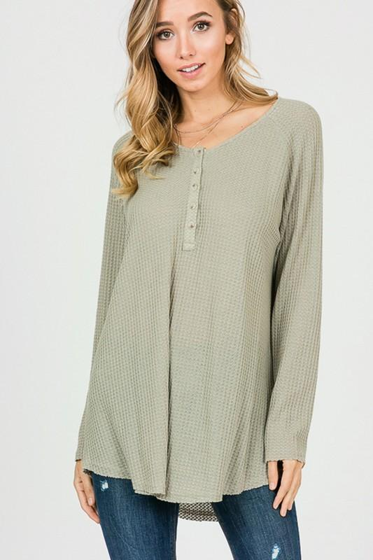 This Time Around Thermal Top: Light Olive - Bella and Bloom Boutique
