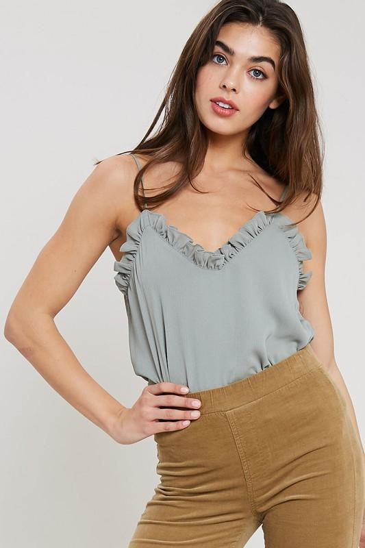 RESTOCK: Simple Ruffle Cami: Sage - Bella and Bloom Boutique