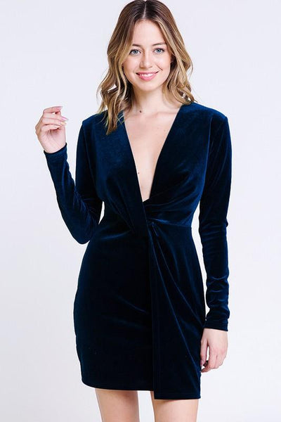 Found You Like a Melody Velvet Dress: Navy - Bella and Bloom Boutique