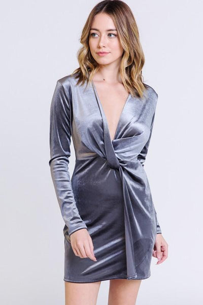 Found You Like a Melody Velvet Dress: Silver - Bella and Bloom Boutique