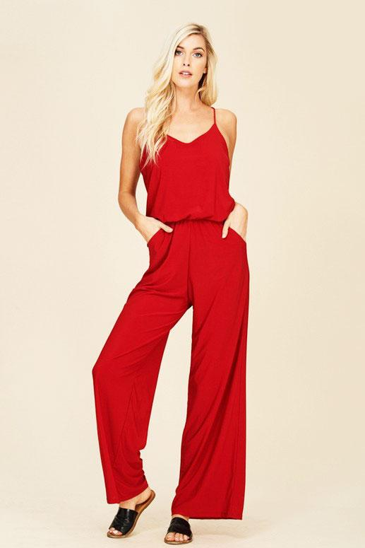 Every Day Jumpsuit: Red - Bella and Bloom Boutique