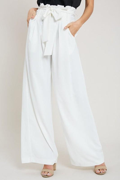 Classic Wide Leg Pants: White - Bella and Bloom Boutique