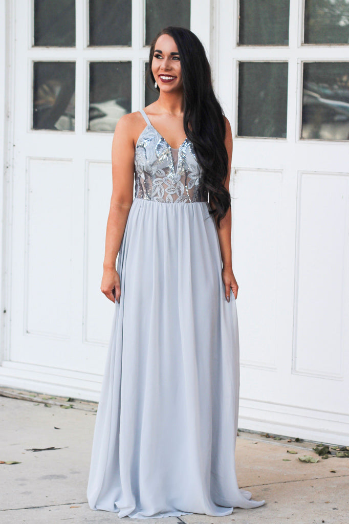 4abe9cb7f757 Someone Like You Maxi Dress: Silver - Bella and Bloom Boutique