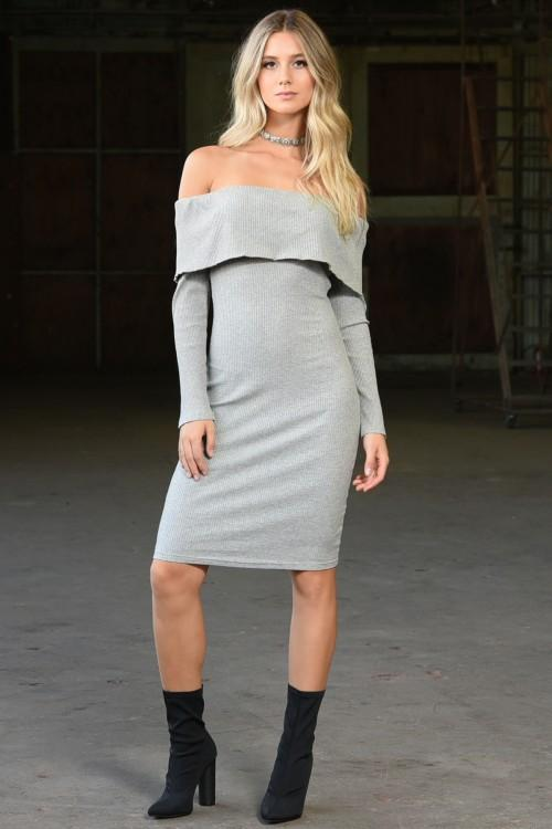 Fit for Fall Dress: Gray - Bella and Bloom Boutique