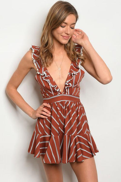 All About Stripes Romper: Rust - Bella and Bloom Boutique
