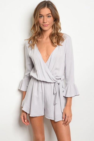 Sweet Side Romper: Lavender-Gray - Bella and Bloom Boutique