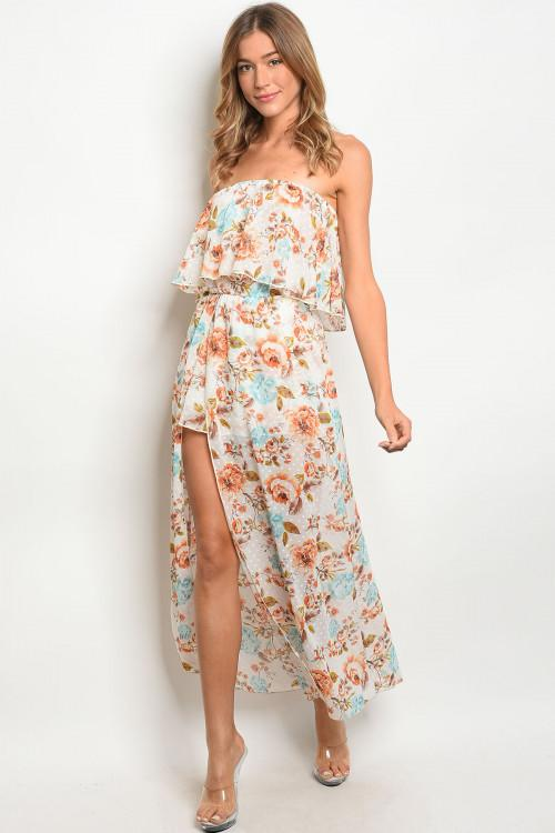 Floral Dreams Maxi Romper: White - Bella and Bloom Boutique