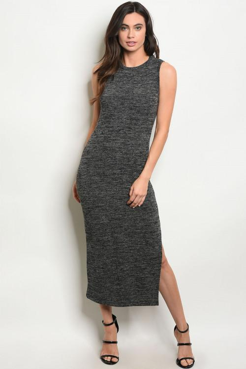 Hip to My Heart Midi Dress: Charcoal - Bella and Bloom Boutique