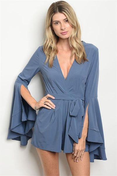 Autumn Bliss Romper: Dusty Blue - Bella and Bloom Boutique