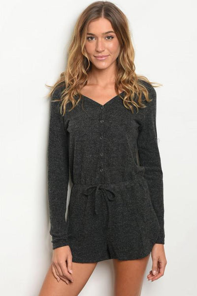 Travel Romper: Charcoal - Bella and Bloom Boutique