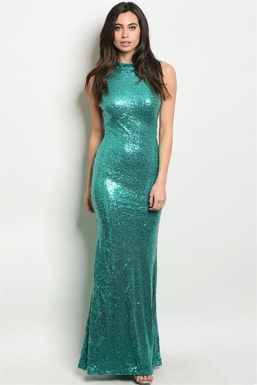 Side Surprise Maxi Dress: Teal - Bella and Bloom Boutique