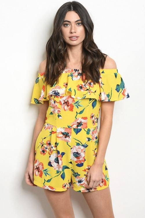 Summer Florals Romper: Yellow - Bella and Bloom Boutique