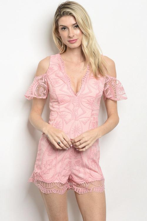 Kaleigh Romper: Pink - Bella and Bloom Boutique