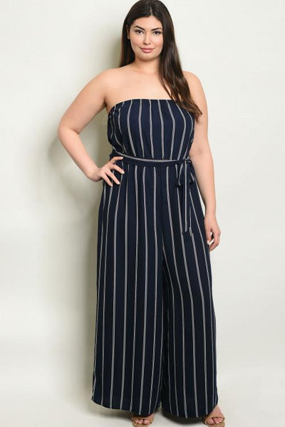 Nautical Days Jumpsuit: Navy/White - Bella and Bloom Boutique