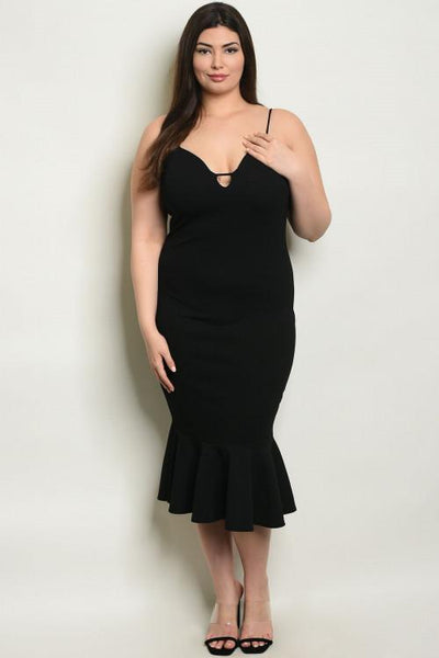 Date Night Babe Midi Dress: Black - Bella and Bloom Boutique