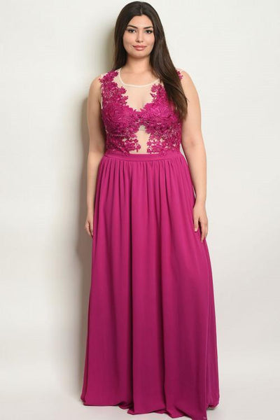 One That Got Away Maxi Dress: Magenta - Bella and Bloom Boutique
