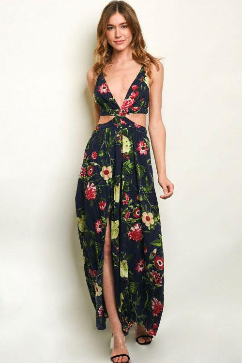 Wildflower Fields Maxi Dress: Navy Multi - Bella and Bloom Boutique