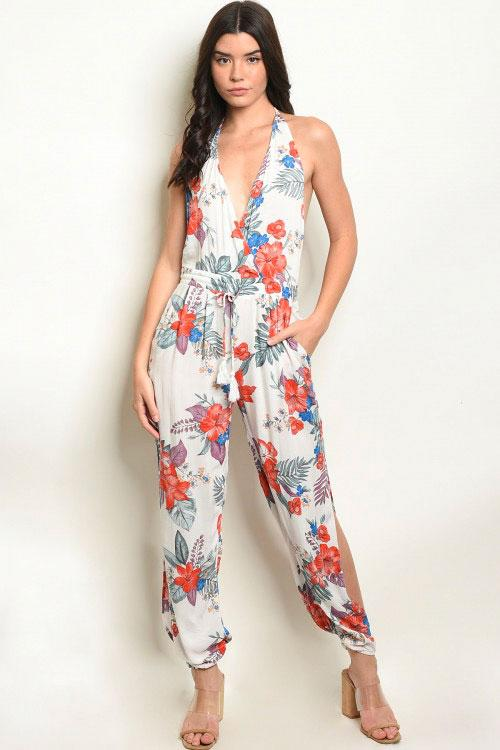 Hawaiian Paradise Jumpsuit: White - Bella and Bloom Boutique