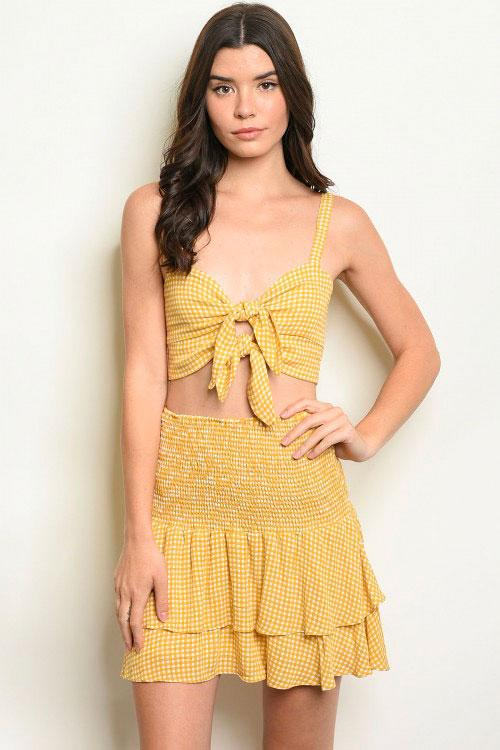 Summer Dream Two Piece Set - SAGE THE LABEL: Mustard/White - Bella and Bloom Boutique