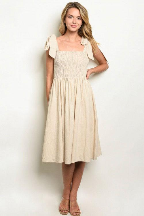 Sweet and Simple Midi Dress: Sand - Bella and Bloom Boutique