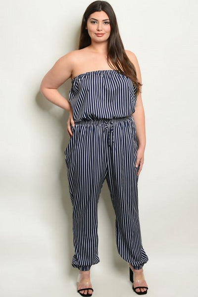 In the Stripes Jumpsuit: Navy/White - Bella and Bloom Boutique