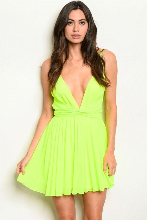 Beyond Words Dress: Neon Lime - Bella and Bloom Boutique