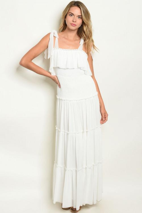 Sophie Smocked Maxi Dress: White - Bella and Bloom Boutique
