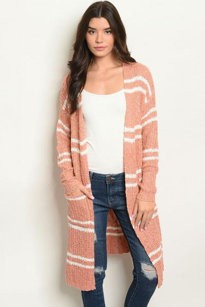As Long As You Love Me Cardigan: Salmon/Ivory - Bella and Bloom Boutique
