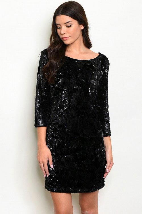 Party Nights Sequin Dress: Black - Bella and Bloom Boutique